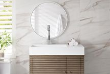 """Linear + Oasis Modern Collection / Asymmetrical modern. James Martin's Linear Cabinet is designed for modern living in smaller spaces.   Circular Thinking. Oasis by James Martin is a 72"""" vanity with striking geometric design. The cabinet features Eucalyptus and Olive Ash Burl veneers over North American Birch hardwoods."""