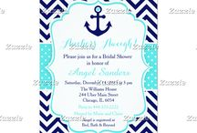 Nautical Anchor Turquoise and Navy / This collection features a navy blue anchor with a heart. The background consists of navy blue chevrons and a turquoise blue polka dot ribbon.