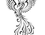 Disegno per tatuaggio fenice