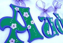 Floral Painted Letters, Floral Nursery Decor, Floral Kids Room Wall Art