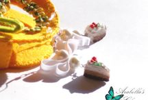 Earrings with charms, food miniatures, slices of cake made in polymer clay