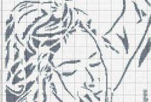 haft krzyzykowy czarno białe