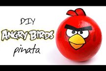 Angry birds crafts / Look our usefull tutorials, if you want to make your party stylish and unique. These Angry birds crafts will become a great themed party decorations! #Angrybirds #partydecor #greetingcards