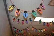 Karácsonyi dekoráció osztályterembe