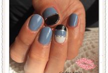 Grey, black and white with nailstripes
