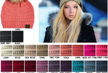 CC Knit Beanie Hat with Fur Pom in 25 Colors