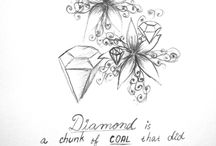 My drawings / Drawings of flowers and quotes