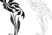 Monochrom obrázky květy