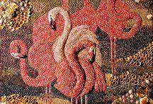 quadri con perline e mosaico