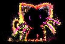 Black Colourful Cats / Experimentos com desenho de ponteiro de mouse pixelado,