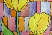 elementary art - flowers / by Laine Van