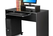 Office Furniture Desk Large Storage Unit Study Table Wooden Metal Stylish Black