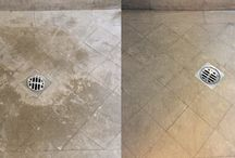 Stone Tile Restoration BEFORE & AFTER / Check out our BEFORE & AFTER shots of stone and tile surfaces we have cleaned and restored. Cleaning and restoring stone tile floors, walls, patios, pools, decks, driveways, showers and interiors is what we do!