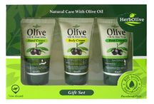 Gift sets / Five different Gift Sets that offer three great mini products. Each contains 50ml/1.69 fl oz. Air travel approved sizes.  Same great products only in convenient travel sizes or just to sample a little of each.  100% Organic Olive Oil HerbOlive which are formulated using Bio-active ingredients. They are Paraben free, Mineral Oil free, Vaseline free,  Paraffin free and GMO free.