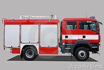 Carro de bomberos. Camión. Bomberos. / Imágenes de carros de bomberos, bomberos y personal de rescate.