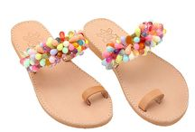 "Leather Handmade Ethnic Happy Girly Sandals ""Art 8"" col. Natural / Multi"