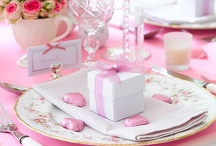 Pink bridal rose tablescape