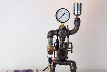 Steampunk industrial metal pipe lamps