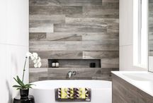 Wooden tile bathroom