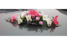 Bouquet mariage pour voiture / Compositions florale pour décorer la voiture de la mariée, attachement par ventouse