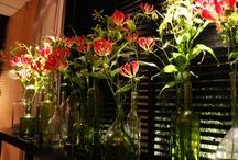 Decoracion con flores y con velas