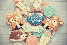 Woodland baby shower cookies