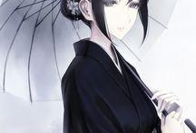 Girl anime with KIMONO