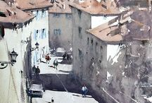 cityscape paintings&illustrations