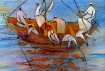 Ann Tanksley / Ann Tanksley  work tells a story. She  has chosen to communicate through the figures of the painting rather through abstract expression, even though her method is not unlike that of the Abstract Expressionists.