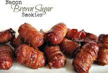 Brown sugar &bacon wrapped smokies