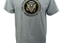 United States of America Tee Shirt / The United States of America, Washington DC, Embroidered Tee Shirt with Presidential Eagle Seal, Athletic Grey, on preshrunk cotton! Only available at www.whitehousegiftshop.com