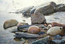 Art - Rocks in watercolour