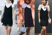 Sobreposição de vestido com camiseta