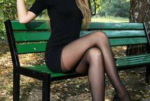 beauty blonde in black