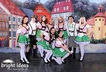 Oktoberfest Celebration / Guests were greeted by costumed actors in Lederhosen as they entered the venue which had been transformed to resemble a Festhalle setting. German beer tasting stations surrounded a flowing cast iron fountain in the Platz. Guests were amazed at the 24' ribbon ring which was suspended above the stage where a German band belted out authentic Oktoberfest songs. Other hits in the evening were the tapping of the Keg, Edelweiss dancers, horn blower and of course the tasty German cuisine.
