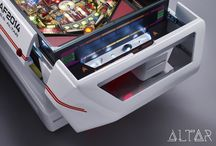 THE SHUTTLE Coffee Table / This table is a one of a kind as it is. Not only does it feature an original Star Trek pinball playfield, with new electronic controls, and LED lighting, but has four real meteorites built into it's back container.