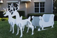 Santa Sleigh Outdoor Decoration / Fun variety of outdoor yard Christmas Santa sleigh decorations. Brings Ole St. Nick's sled to life every yuletide season!