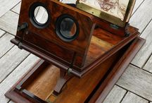Pmjc antiques & collectables / Walnut stereoscope graphoscope viewer