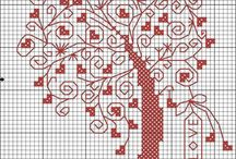Cross stitch - trees of hearts