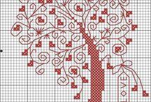 Cross stitch - trees of hearts