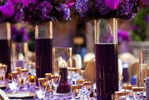 Lots of purple centerpiece.