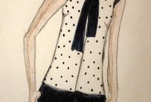 My fashion drawings / Hand-drawn fashion illustrations.Helps me in visualising fabrics on a pattern.