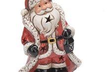 Santa Claus Decoration Xmas Christmas Gift Home Decor 2 Piece With Light Statute
