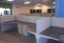 J-Curve Tempe, Arizona install / We did 140 refurbished Herman Miller cubicles in gray with gray trim along with 140 refurbished Herman Miller Equa task chairs.