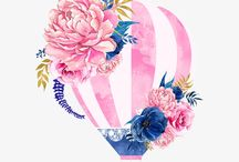 Воздушный шар (высечки, акварель)