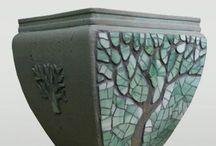 Pot fleurs mosaique arbre