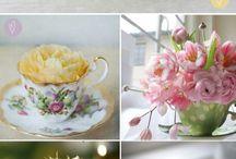 Floral arrangements in teacup