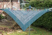 knitting / knitting, triangular scarf