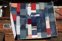 Denim blue and red quilt