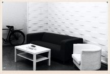 3D INDUSTRIAL GYPSUM WALL PANELS - PREFAES / Three-dimensional interior wall panels made from reinforced industrial gypsum. These easy-to-install tiles have a seamless surface and a perfect automatic pattern repeat, and can be painted in any desired colour.